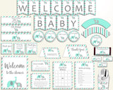 Decorations Baby Shower Decorations Turquoise Baby Shower Decorations Baby Shower Elephant Decorations Green Gray party plan prints 5DMNH - Digital Product