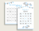 Elephant Baby Shower Bingo Cards Printable, Blue Grey Baby Shower Boy, 60 Prefilled Bingo Game Cards, Little Peanut Most Popular ebl02