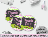 Baby shower THANK YOU round tag or sticker printable with green alligator and pink color theme for girl, instant download - ap001