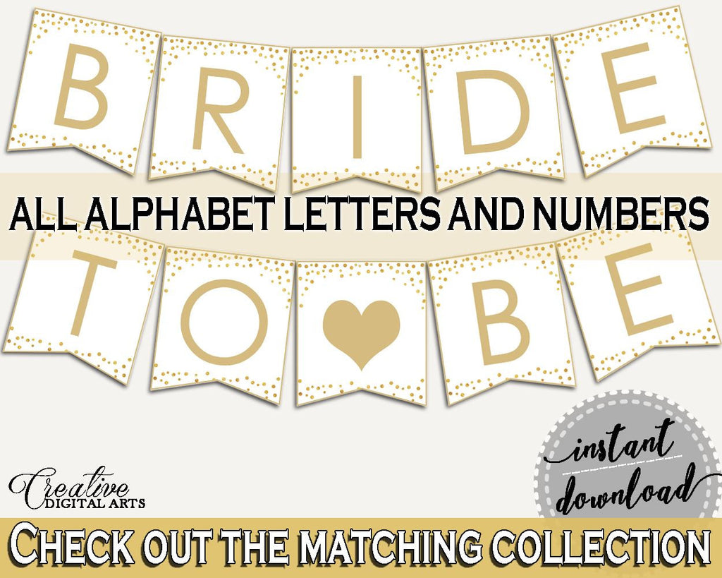 Banner Bridal Shower Banner Confetti Bridal Shower Banner Bridal Shower Confetti Banner Gold White party supplies, party décor CZXE5 - Digital Product