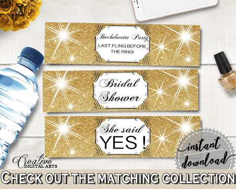 Gold And Yellow Glittering Gold Bridal Shower Theme: Bottle Labels - bachelorette party, gorgeous bridal, party stuff, party decor - JTD7P - Digital Product
