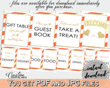 Baby shower TABLE SIGNS decoration printable with orange strips theme, gold glitter shower, digital jpg pdf, instant download - bs003