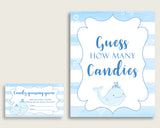 Blue White Candy Guessing Game, Whale Baby Shower Boy Sign And Cards, Guess How Many Candies, Candy Jar Game, Jelly Beans, Instant wbl01