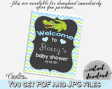 Baby Shower WELCOME sign editable with green alligator and blue color theme printable, digital files, pdf jpg, instant download - ap002
