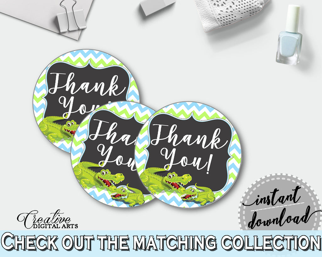 Baby shower THANK YOU round tag or sticker printable with green alligator and blue color theme for boy, instant download - ap002
