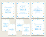 Stars Baby Shower Boy Table Signs Printable, Blue Gold Party Table Decor, Favors, Food, Drink, Treat, Guest Book, Instant Download, bsr01