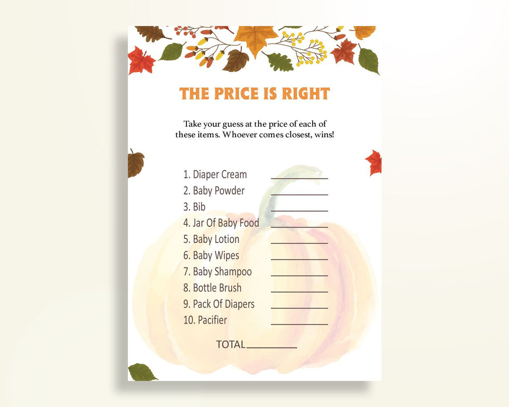 Price Is Right Baby Shower Price Is Right Autumn Baby Shower Price Is Right Baby Shower Pumpkin Price Is Right Orange Brown prints OALDE - Digital Product