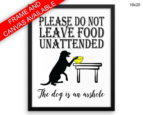 Asshole Dog Print, Beautiful Wall Art with Frame and Canvas options available Living Room Decor