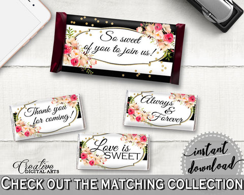 Flower Bouquet Black Stripes Bridal Shower Hershey Mini And Standard Wrappers in Black And Gold, decoration labels, pdf jpg - QMK20 - Digital Product
