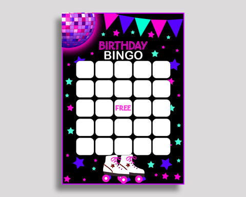 Birthday Game Roller Skates Gift Bingo Roller Skates Birthday Bingo Pink Black Party Activity Girl 8NAK7