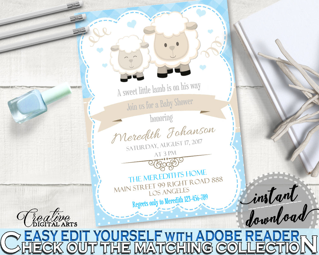 Little Lamb Blue INVITATION editable baby shower boy theme printable sheep, digital files, editable lamb shower, instant download - fa001
