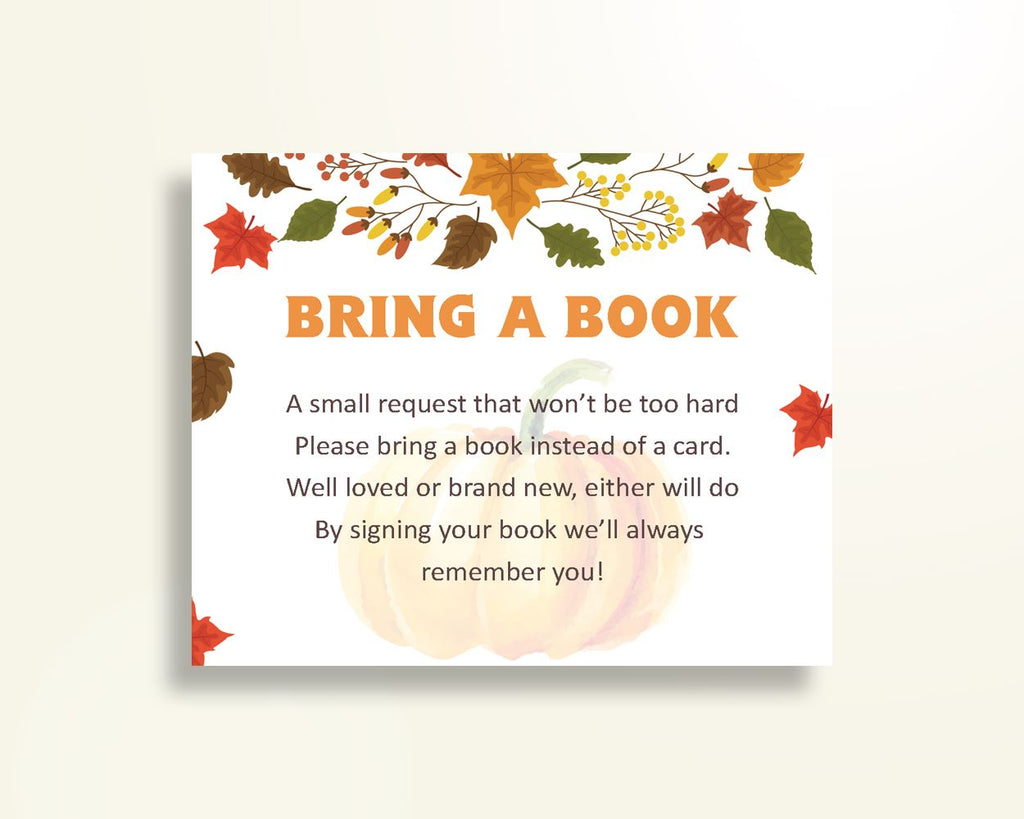 Bring A Book Baby Shower Bring A Book Autumn Baby Shower Bring A Book Baby Shower Pumpkin Bring A Book Orange Brown instant download OALDE - Digital Product