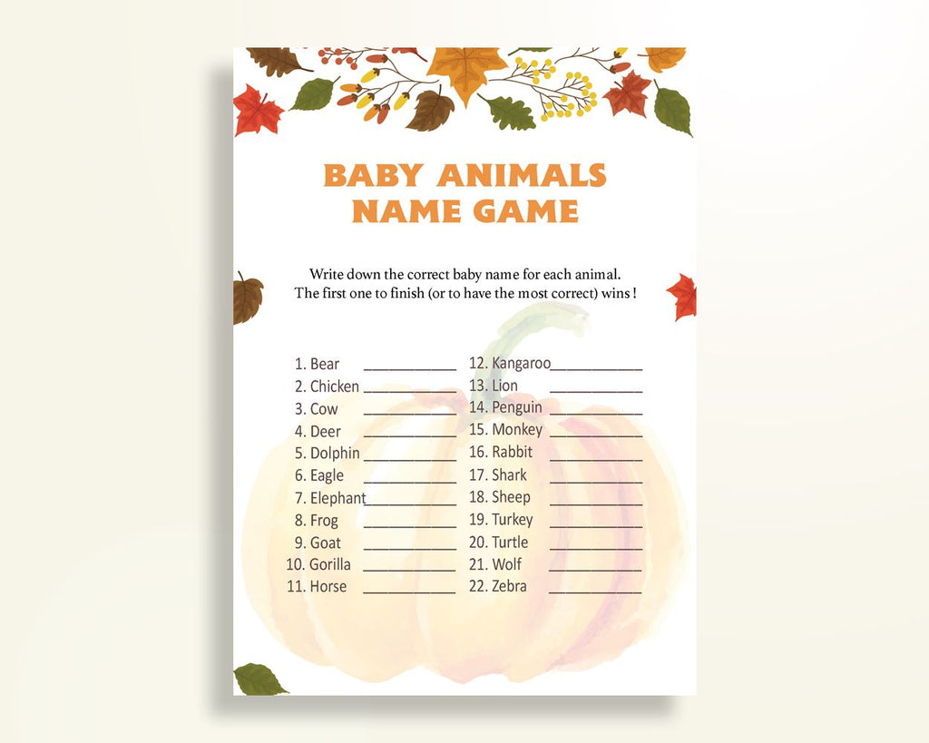 Baby Animal Names Baby Shower Baby Animal Names Autumn Baby Shower Baby Animal Names Baby Shower Pumpkin Baby Animal Names Orange OALDE - Digital Product