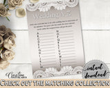 Brown And Silver Traditional Lace Bridal Shower Theme: Wedding A-Z Game - words fun, shower crochet, party organizing, party plan - Z2DRE - Digital Product