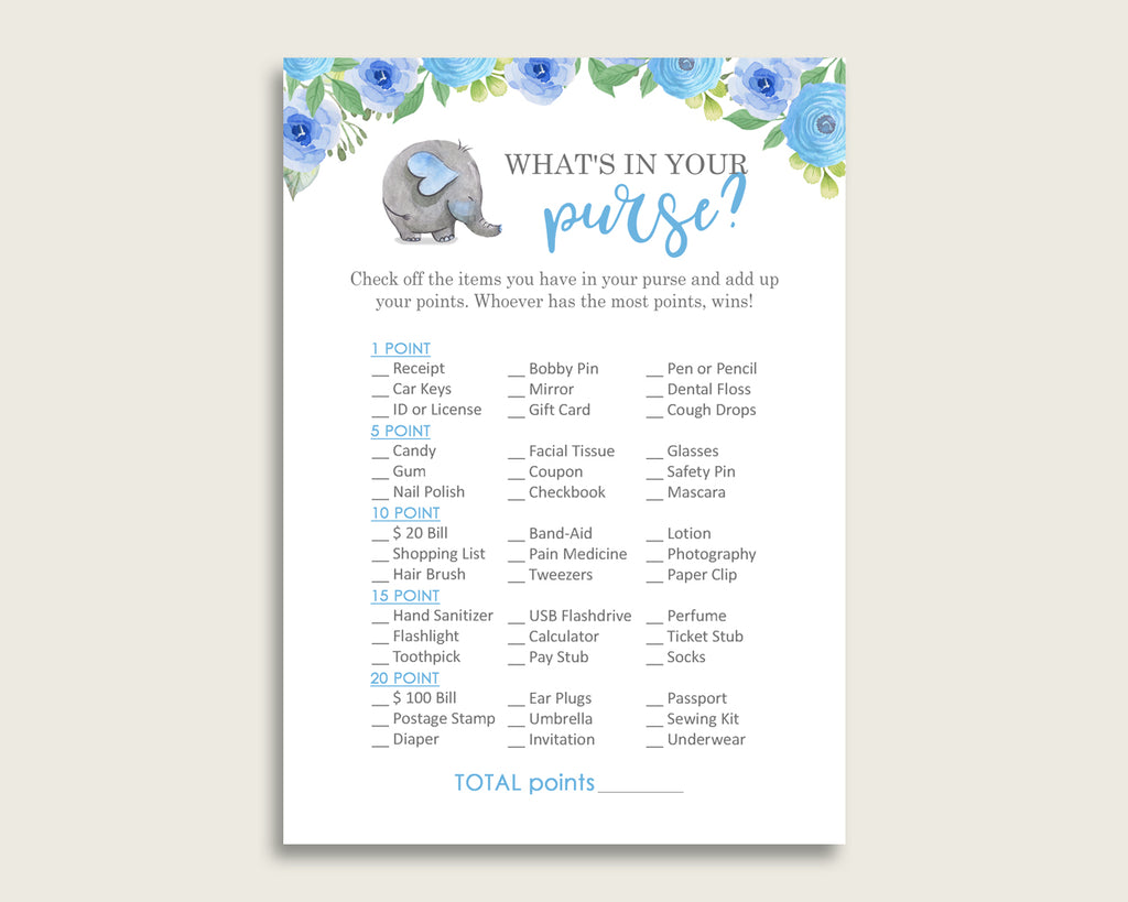 Elephant Blue What's In Your Purse Game Printable, Blue Gray Whats In Your Purse, Boy Baby Shower Purse Game, Instant Download, ebl01