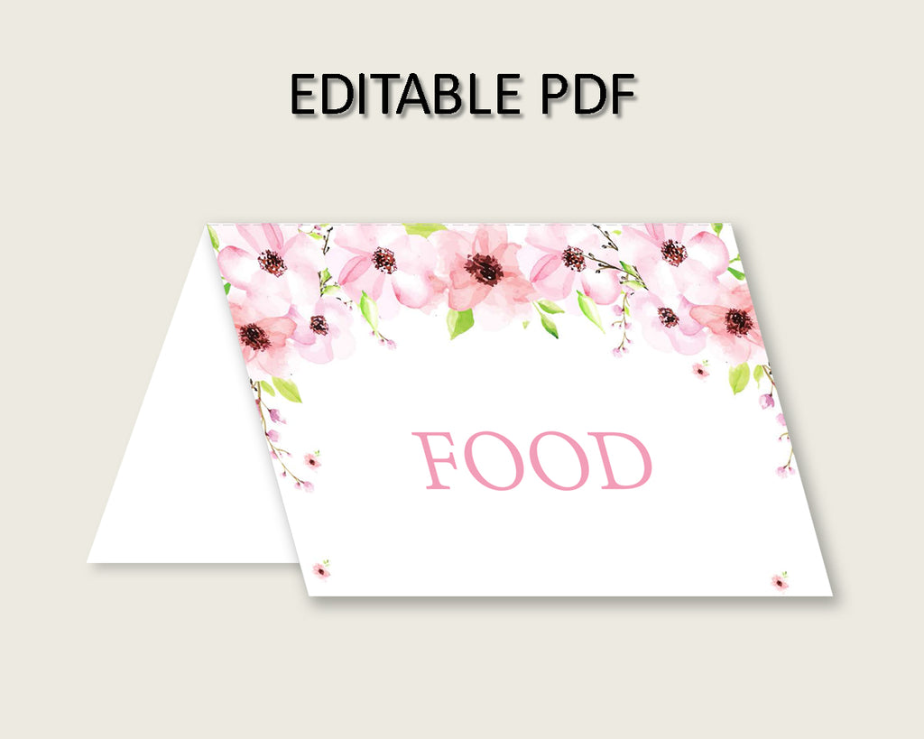 Flower Blush Folded Food Tent Cards Printable, Pink Green Editable Pdf Buffet Labels, Girl Baby Shower Food Place Cards, Instant VH1KL