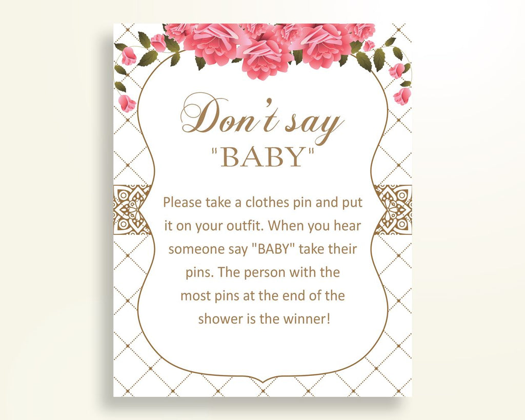 Dont Say Baby Baby Shower Dont Say Baby Roses Baby Shower Dont Say Baby Baby Shower Roses Dont Say Baby Pink White party stuff U3FPX - Digital Product