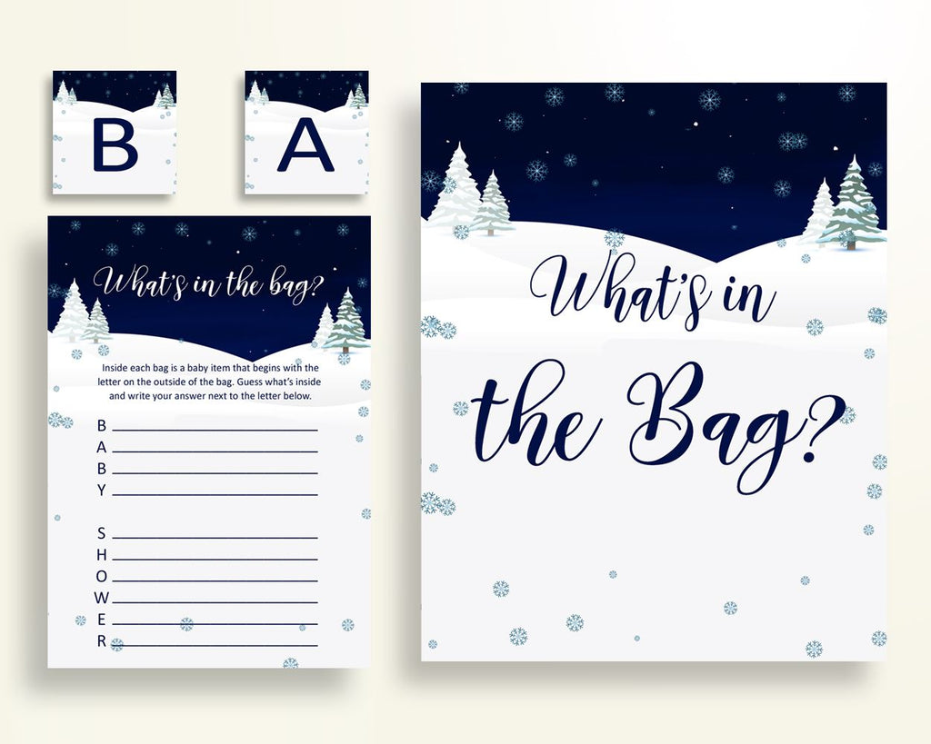 What's In The Bag Baby Shower What's In The Bag Winter Baby Shower What's In The Bag Baby Shower Winter What's In The Bag Blue White 3E6QO - Digital Product