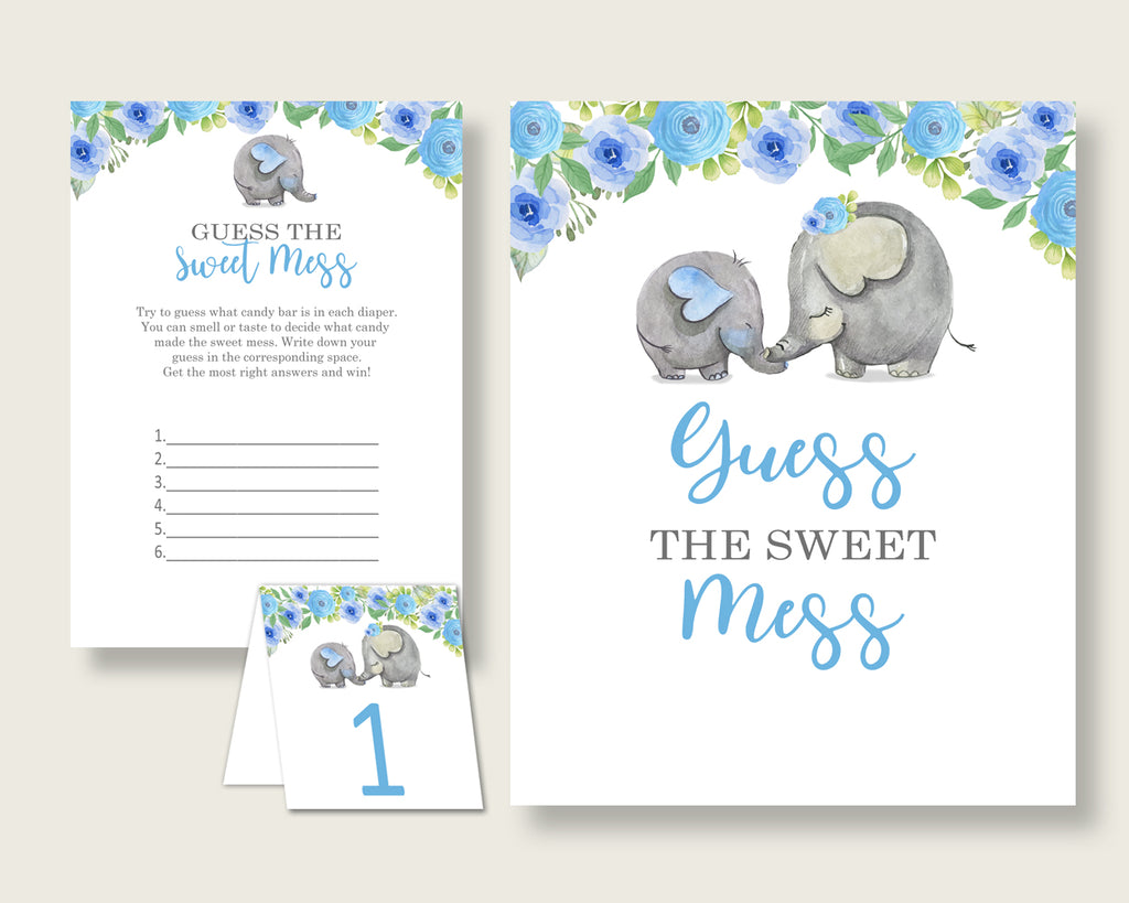 Elephant Blue Guessing Game Baby Shower Boy, Blue Gray Guess The Sweet Mess Game Printable, Dirty Diaper Game, Instant Download, ebl01