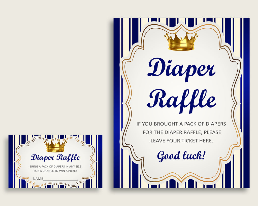 Royal Prince Baby Shower Diaper Raffle Tickets Game, Boy Blue Gold Diaper Raffle Card Insert and Sign Printable, Instant Download rp001