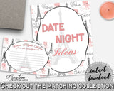 Date Night Ideas in Paris Bridal Shower Pink And Gray Theme, date idea notecards, french bridal shower, party décor, party ideas - NJAL9 - Digital Product