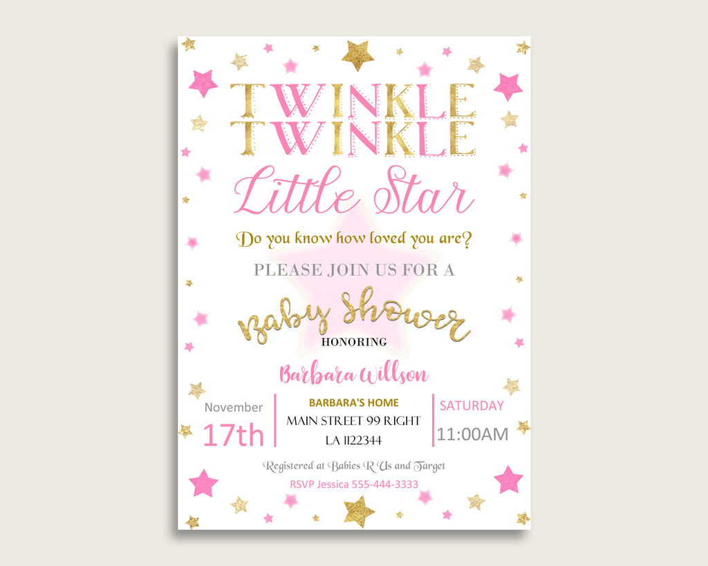 Twinkle Star Baby Shower Invitations Printable, Digital Or Printed Invitation Baby Shower Girl, Editable Invitation Pink Gold Cute bsg01