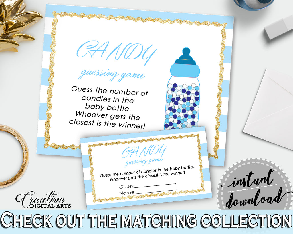 CANDY GUESSING GAME printable sign and tickets for baby shower with blue and white stripes theme, Jpg Pdf, instant download - bs002