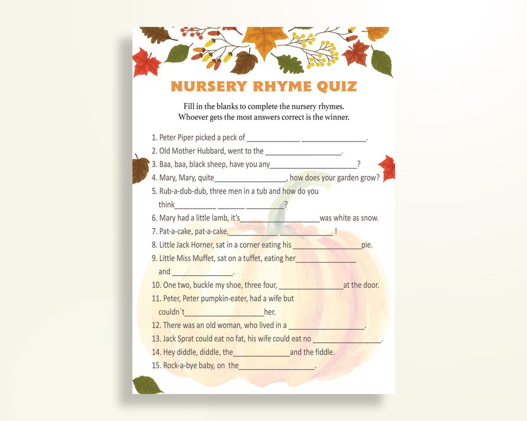 Nursery Rhyme Quiz Baby Shower Nursery Rhyme Quiz Autumn Baby Shower Nursery Rhyme Quiz Baby Shower Pumpkin Nursery Rhyme Quiz Orange OALDE - Digital Product