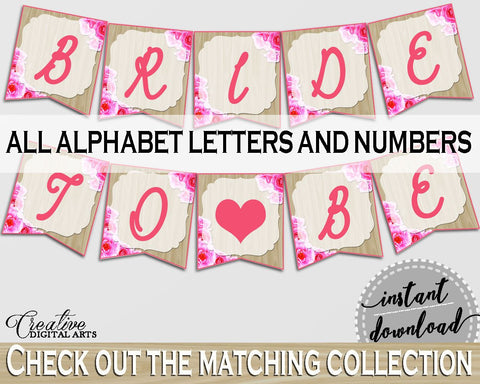 Roses On Wood Bridal Shower Banner in Pink And Beige, banner all letters, beige bridal shower, shower celebration, printable files - B9MAI - Digital Product