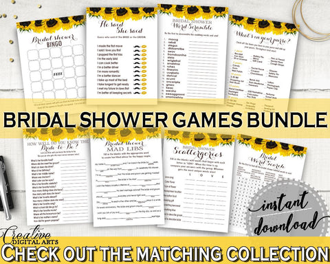 Games Bridal Shower Games Sunflower Bridal Shower Games Bridal Shower Sunflower Games Yellow White printables, prints, digital print SSNP1 - Digital Product