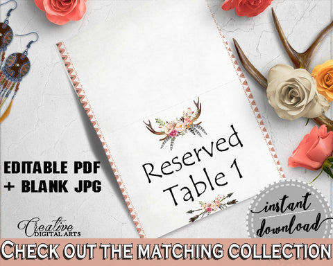 Gray and Pink Antlers Flowers Bohemian Bridal Shower Theme: Food Tent - editable table signs, flowers bouquet, shower celebration - MVR4R - Digital Product
