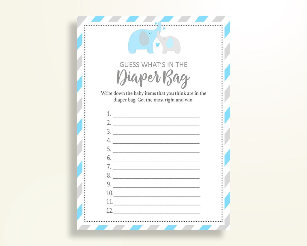 What's In The Diaper Bag Baby Shower What's In The Diaper Bag Elephant Baby Shower What's In The Diaper Bag Blue Gray Baby Shower C0U64 - Digital Product
