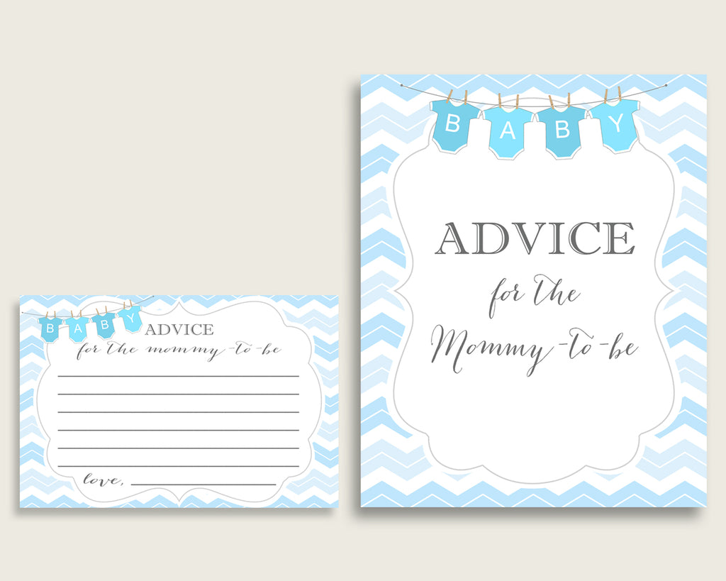 Chevron Advice For Mommy To Be Cards & Sign, Printable Baby Shower Blue White Advice For New Parents, Instant Download, Light Blue cbl01