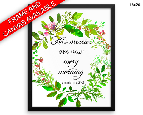 His Mercies Are New Every Morning Print, Beautiful Wall Art with Frame and Canvas options available