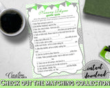 Baby Shower NURSERY RHYME QUIZ game with chevron green theme printable, digital files Jpg Pdf, instant download - cgr01