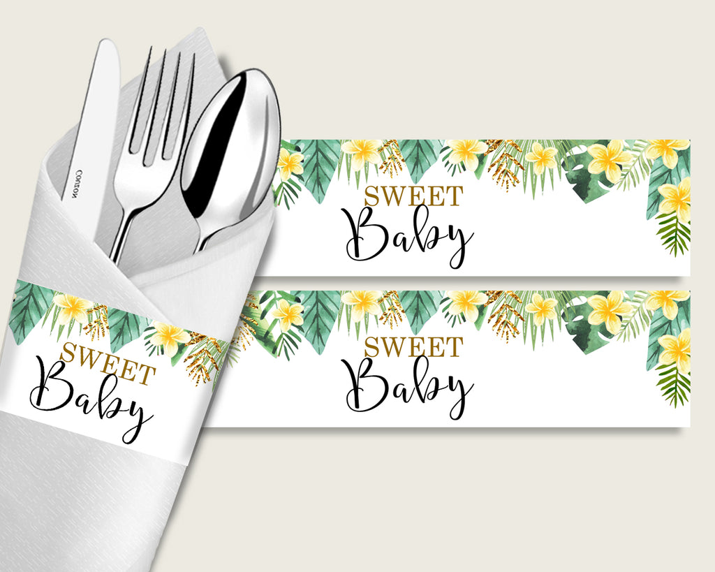 Tropical Baby Shower Napkin Rings Printable, Green Yellow Napkin Wrappers, Gender Neutral Shower Utensils Wrap, Instant Download, 4N0VK