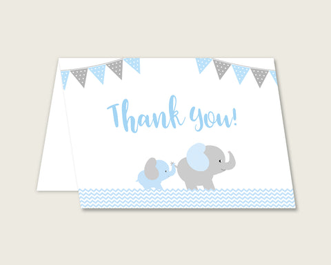 Blue Grey Thank You Cards Printable, Elephant Baby Shower Thank You Notes, Boy Shower Thank You Folded, Instant Download, Most Popular ebl02