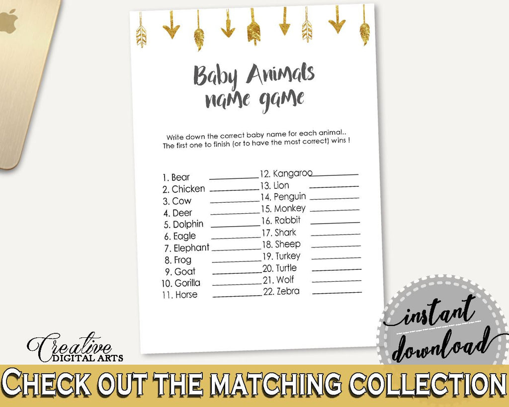 Baby Animal Names Baby Shower Baby Animal Names Gold Arrows Baby Shower Baby Animal Names Baby Shower Gold Arrows Baby Animal Names I60OO - Digital Product