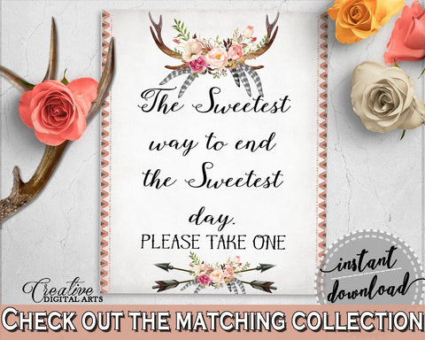 Antlers Flowers Bohemian Bridal Shower The Sweetest Way To End The Sweets Day in Gray and Pink, table sign, party planning, prints - MVR4R - Digital Product