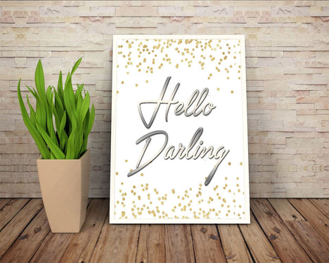 Wall Art Hello Darling Digital Print Hello Darling Poster Art Hello Darling Wall Art Print Hello Darling  Wall Decor Hello Darling wife gift - Digital Download