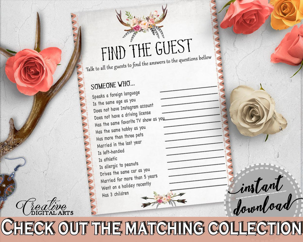 antlers flowers bohemian bridal shower find the guest game in gray and pink party icebreaker