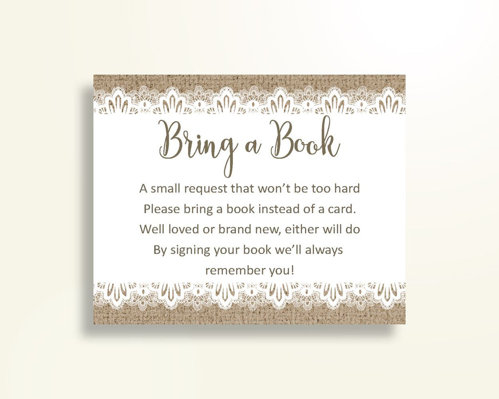Bring A Book Baby Shower Bring A Book Burlap Lace Baby Shower Bring A Book Baby Shower Burlap Lace Bring A Book Brown White pdf jpg W1A9S - Digital Product