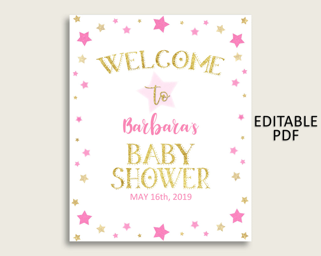 Pink Gold Twinkle Star Baby Shower Welcome Sign Printable, Party Large Sign, Editable Welcome Sign Girl, Yard Sign, Instant Download, bsg01