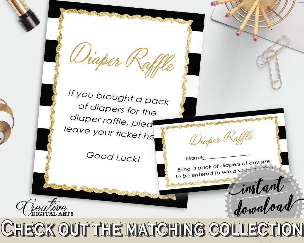 Baby shower DIAPER RAFFLE insert card printable for baby shower with black stripes color theme, digital Jpg Pdf, instant download - bs001