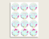 Under The Sea Cupcake Toppers, Pink Green Cupcake Wrappers, Toppers Wrappers Baby Shower Girl, Instant Download, Popular uts01