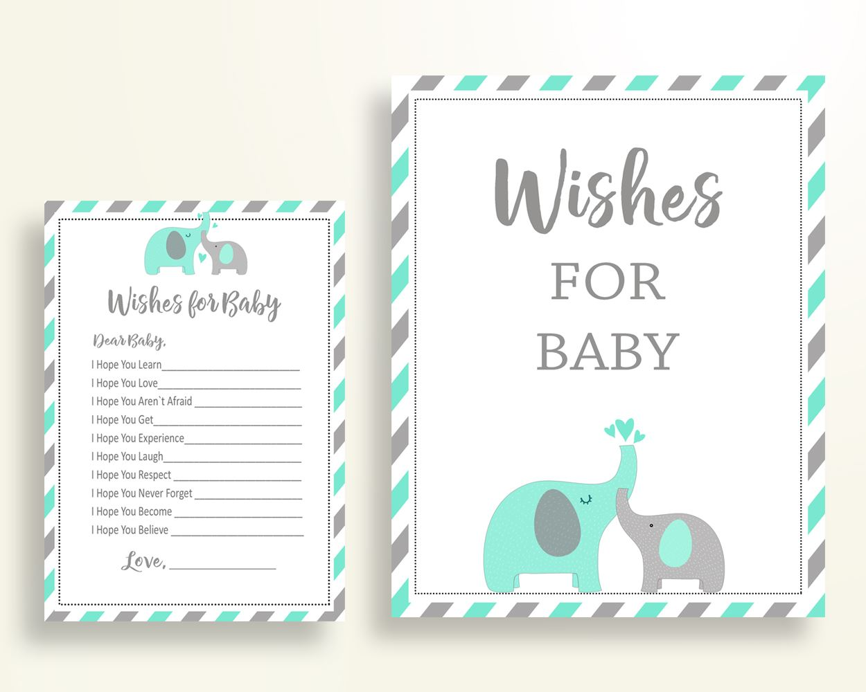 Wishes For Baby Baby Shower Wishes For Baby Turquoise Baby Shower Wishes For Baby Baby Shower Elephant Wishes For Baby Green Gray baby 5DMNH - Digital Product