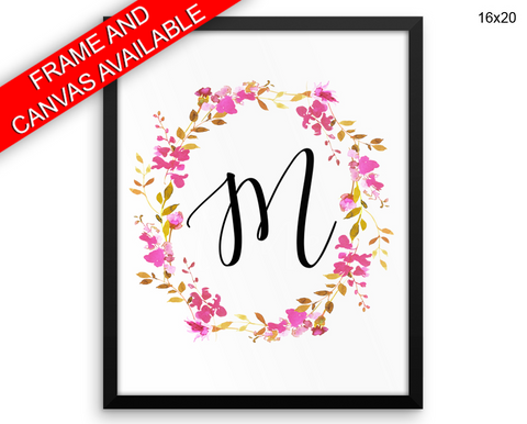 M Initial Print, Beautiful Wall Art with Frame and Canvas options available Letters Decor