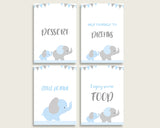 Elephant Baby Shower Boy Table Signs Printable, Blue Grey Party Table Decor, Favors, Food, Drink, Treat, Guest Book, Instant Download, ebl02