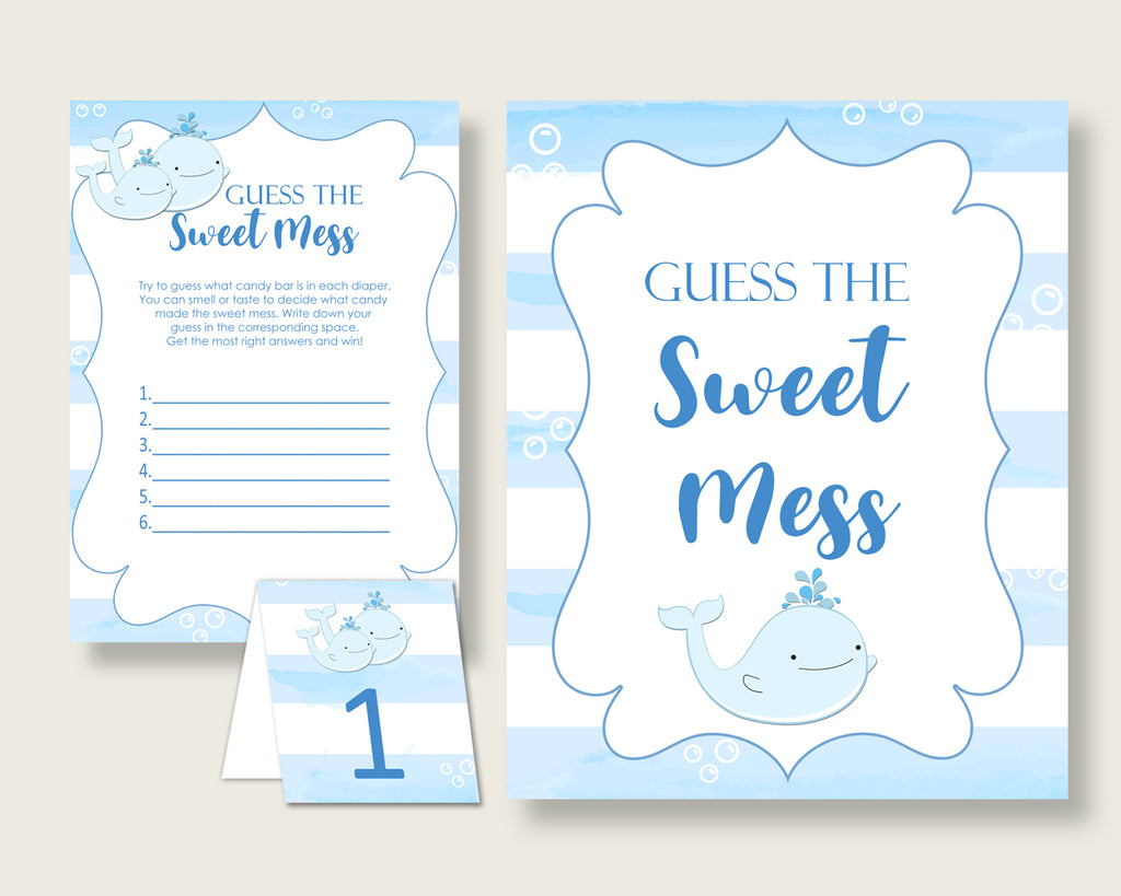 Whale Guessing Game Baby Shower Boy, Blue White Guess The Sweet Mess Game Printable, Dirty Diaper Game, Instant Download, Nautical Sea wbl01