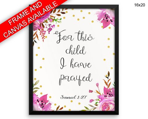 Samuel Prayer Print, Beautiful Wall Art with Frame and Canvas options available Catholic Decor